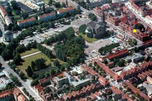 Luftaufnahme vom Bassinplatz und dem Holländischen Viertel